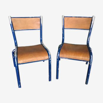 Rare pair of vintage Mullca 60s kindergarten chairs