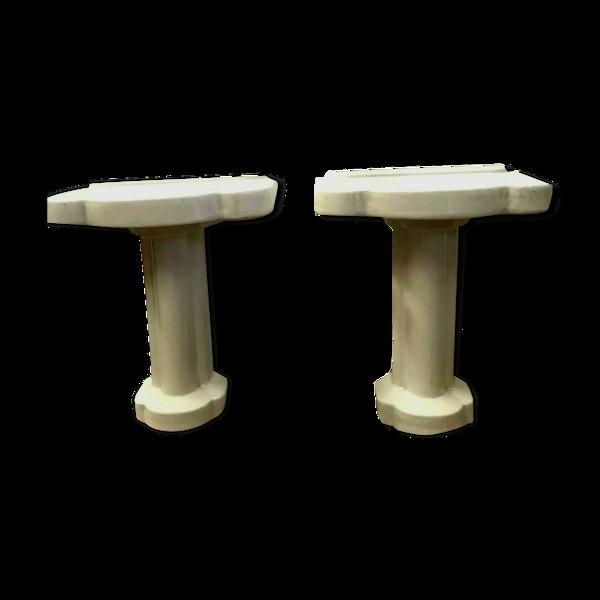 Paire de console sur pied de salle de bain en émail blanc XX siècle