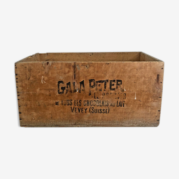 Caisse en bois des Chocolats Gala Peter vintage 50