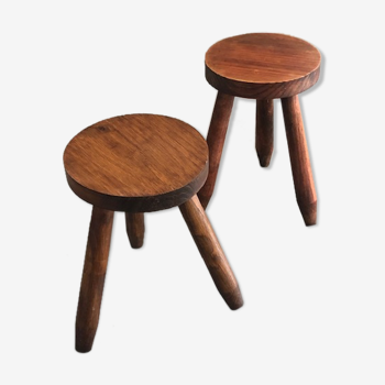 Pair of dyed wooden milking stools