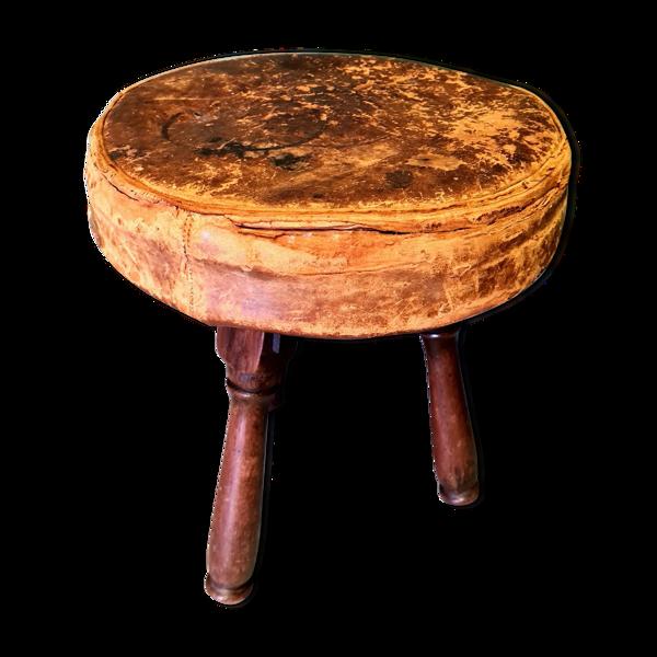 Tabouret antique en bois et cuir