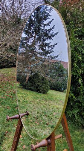 Miroir ovale des années 50 57x92cm