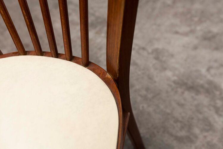 Chaise Baumann 153 en bois foncé et skaï blanc