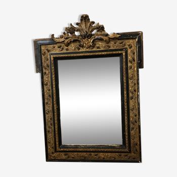 Miroir vintage ancien style Napoléon noir et doré 65 X l50cm