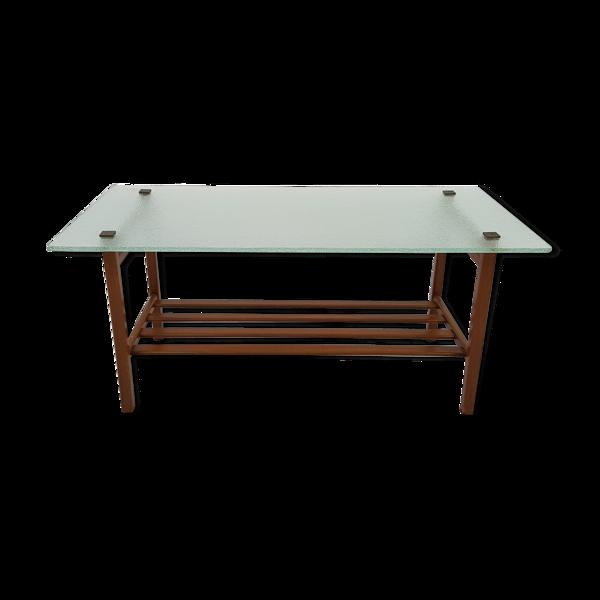 Table basse scandinave plateau verre