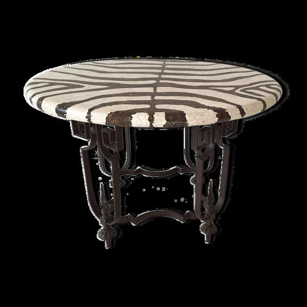 Selency Table zébré Marqueterie de pierre, résine & fer forgé USA