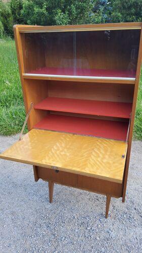 Secrétaire bibliothèque des années 50 en chêne blond pieds compas