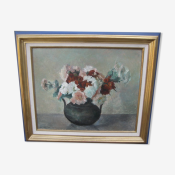 Bouquet de fleurs, ancien tableau, huile sur panneau signée