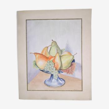 Nature morte à la coupe de fruits signée Louis Céria et datée 1940 - Aquarelle