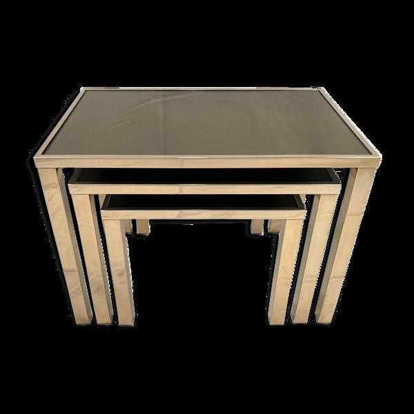 Ensemble de 3 tables gigognes Belgo Chrom dorées à l'or fin 23K