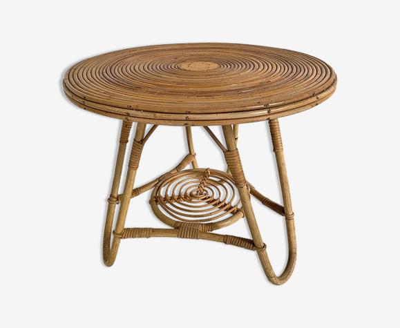 Table d'appoint en rotin vintage 1960
