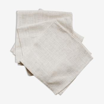 Lot de 4 serviettes beiges chinées