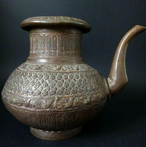 Ancien pichet à eau Moghol en bronze indien oriental Inde XIX