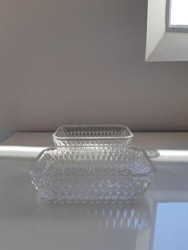 Set of 2 vintage glass cups