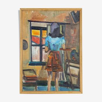 Peinture à l'huile d'une jeune femme signée Milon 1967