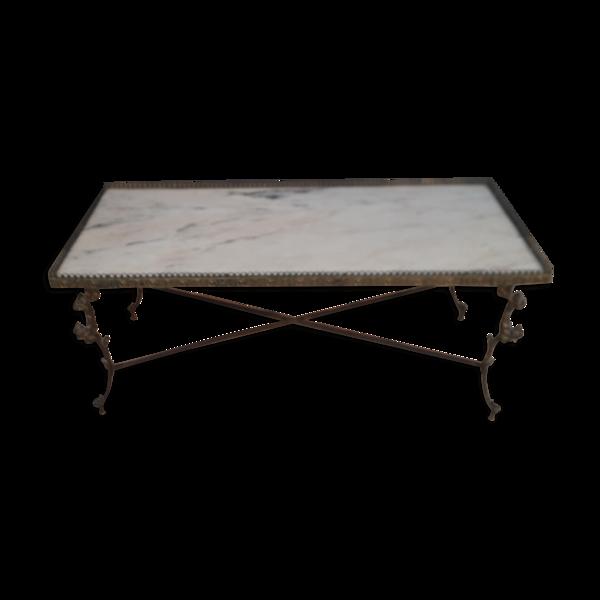 Table basse bronze et marbre
