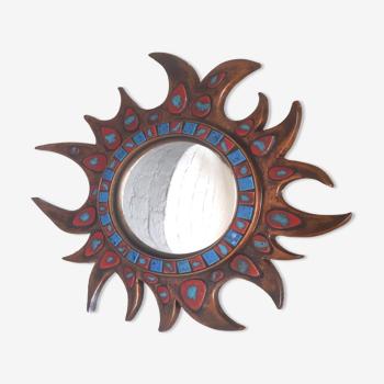 Miroir soleil en résine et céramique, 1950
