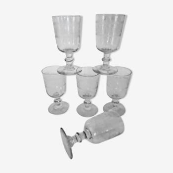 Set de 6 verres anciens gravés grande taille frise grecque début xxème