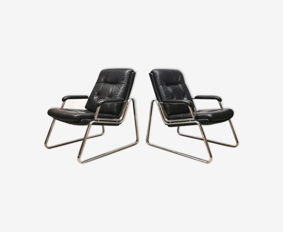 Ensemble de deux fauteuils design vintage Gerd Lange voor Drabert