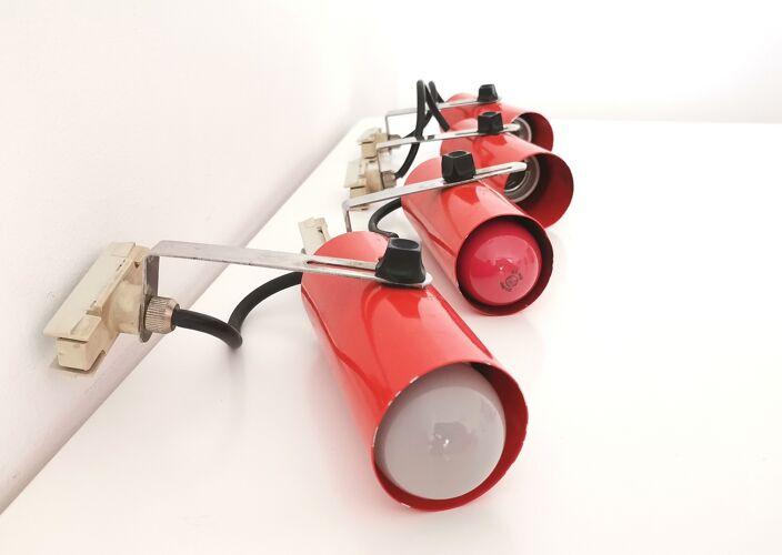 4 Space Age rétro orange rail rail track spot lights vintage