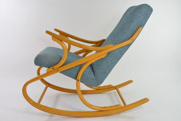 Rocking chair tchécoslovaque bleu chiné