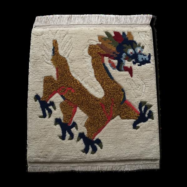 Tapis tibétain en laine décor dragon - 54cm x 43 cm
