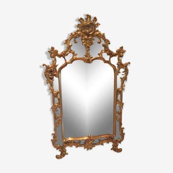 Miroir doré baroque rocaille parclose 76x138 cm