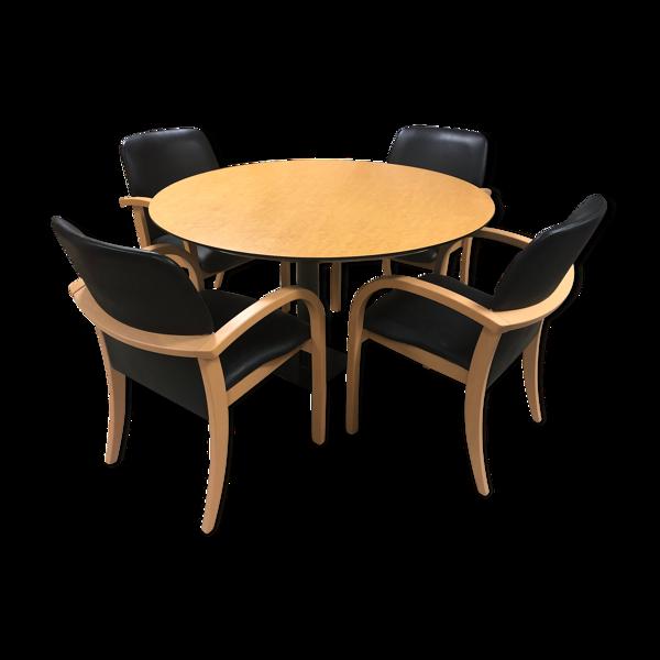 Table ronde et 4 fauteuils