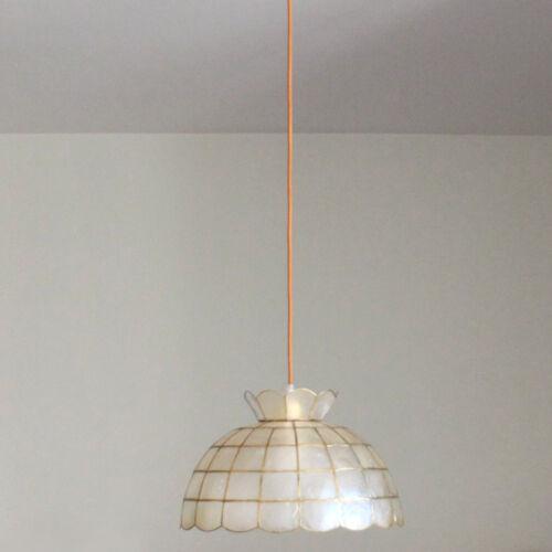 Suspension en nacre et laiton 1950 vintage décoration, loft, lustre, abat jour, luminaire
