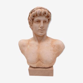 Buste d'homme antique en plâtre sur socle marbre