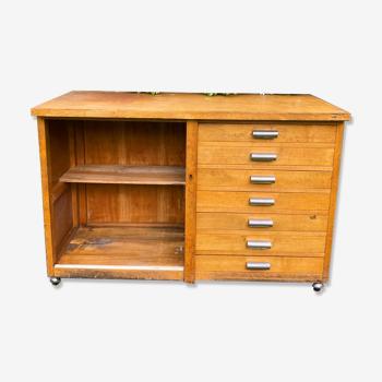 Meuble de métier d'atelier à tiroirs vintage