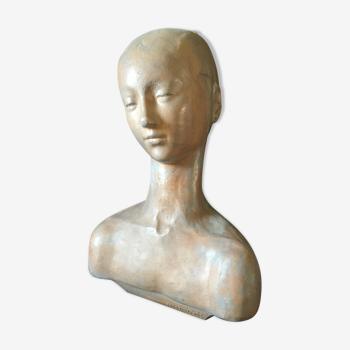 Buste de femme ballerine par Roger Jacob terre cuite