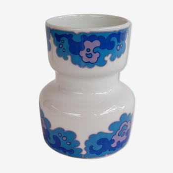 Vase années 70 bleu et blanc