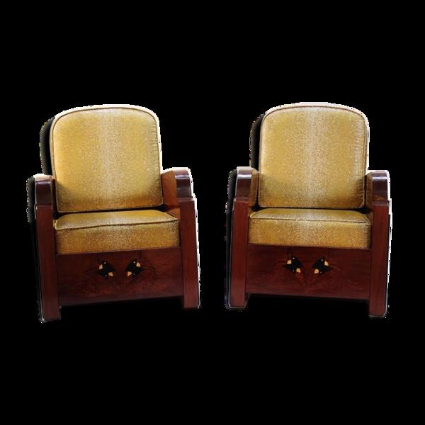 Paire de fauteuils art déco garniture style galuchat