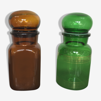 Duo de pots d'apothicaire ambré et vert années 70