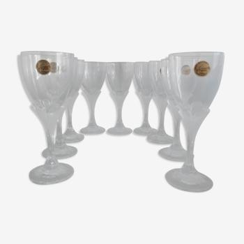 Set de 9 verres sur pieds crystal d'arques Granville