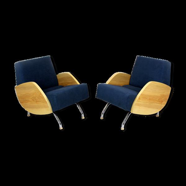 Suite de deux fauteuils en frêne R-360 du milieu du siècle par Janusz Ró?a?ski, années 1960
