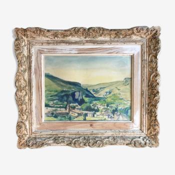 """""""Paysage Provençal"""" aquarelle originale sur crayon"""