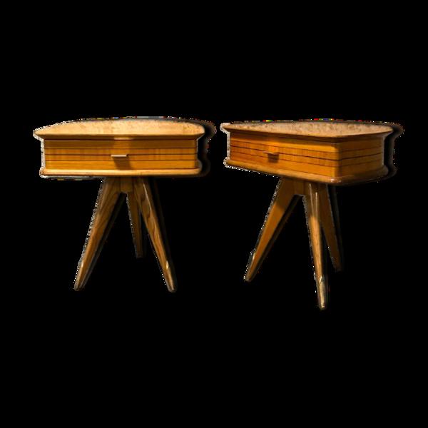 Selency Paire de tables de chevet tripode en bois