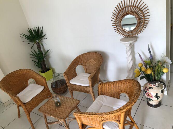 Salon de jardin en rotin vintage