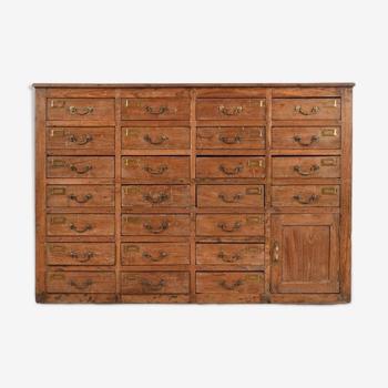 Meuble de rangement en bois à 25 tiroirs et 1 placard