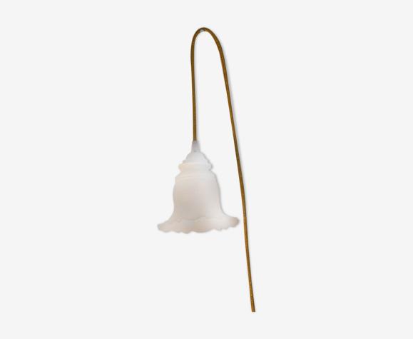 Baladeuse déco en verre dépoli forme tulipe motif tentures