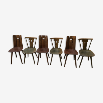 Lot de 6 chaises vintage pieds compas