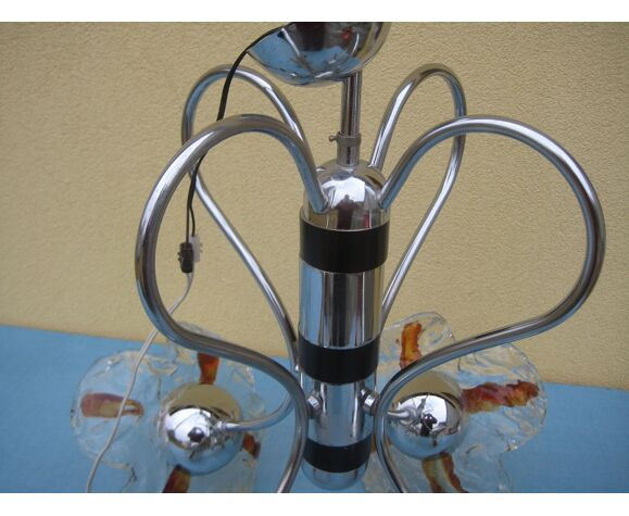 Lustre 4 branches, métal et pate de verre
