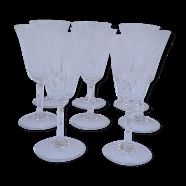 8 verres à vin blanc estampillés cristal Saint Louis modèle Cerdagne H 14 cm