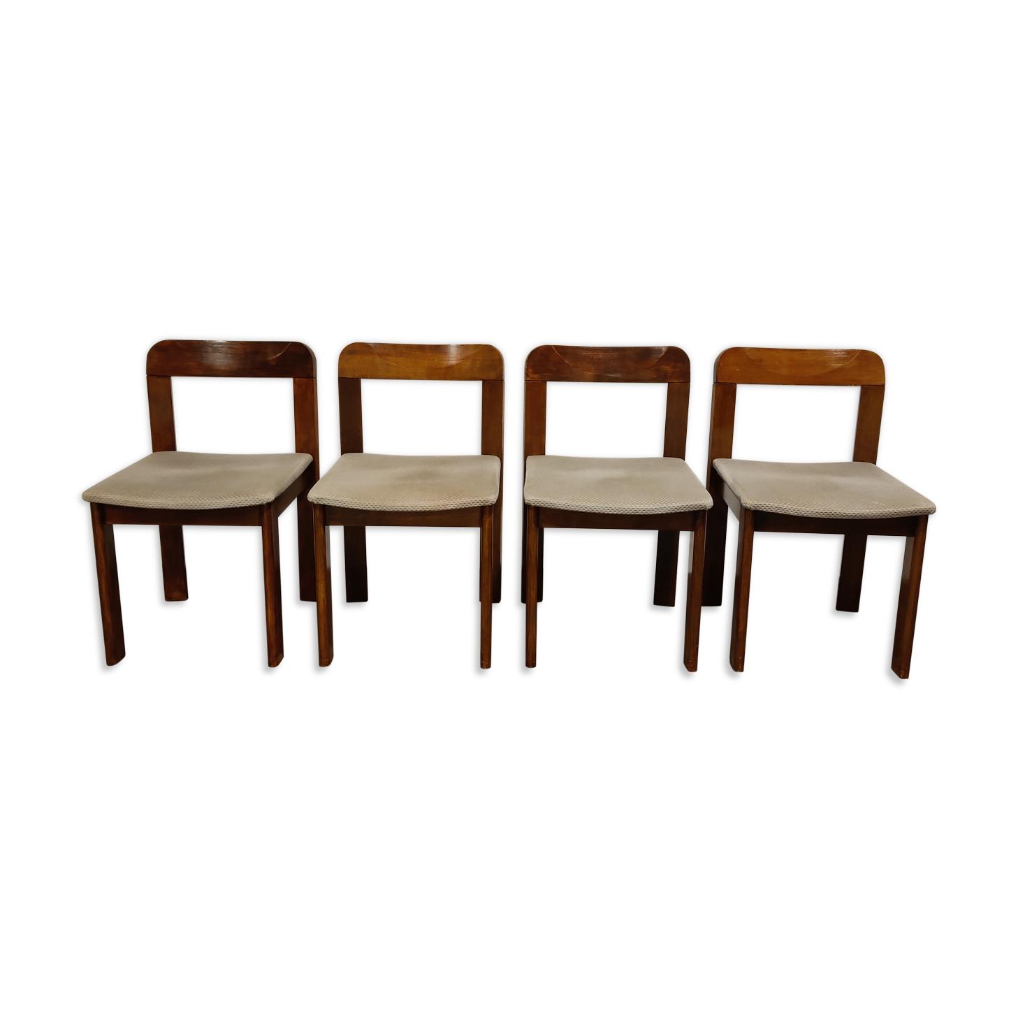 Chaises de salle à manger brutalistes vintage, ensemble de 4 - années 1960