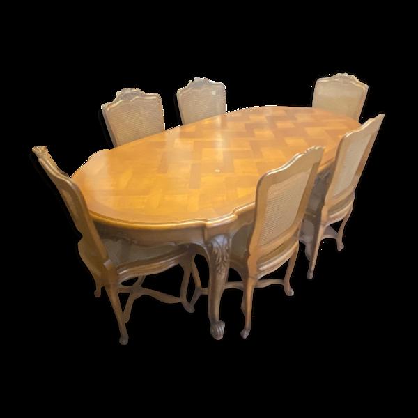 Table à dîner & 6 chaises Louis XV merisier