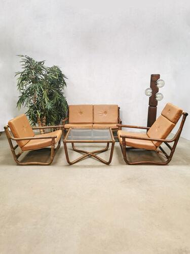 Salon en rotin en bambou vintage