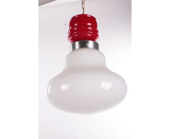 Vintage Hanging lamp with red and white milk glass 1960s