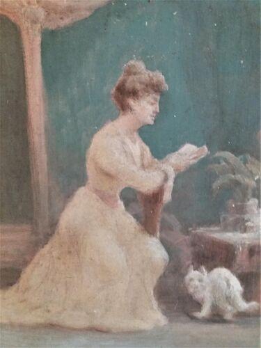 Tableau peinture huile sur toile fonds d'atelier scène de genre